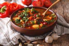 Homemade Hungarian Goulash soup bogracs close-up. horizontal. Homemade Hungarian Goulash soup bogracs close-up in a bowl on the table. horizontal royalty free stock photo
