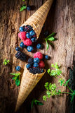 Homemade ice cream with berry fruits in waffels as concept. On old bark stock images