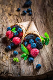 Homemade ice cream with berry fruits on wooden bark as concept. On old bark royalty free stock photo