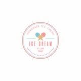 Homemade Ice Cream Logo Template, Vector Design Royalty Free Stock Photo