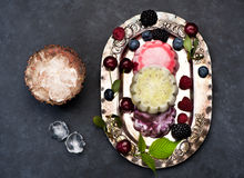 Homemade ice cream or sorbet with blueberries. Ice cream sorbet berries and fruits on a vintage silver plate, top view Royalty Free Stock Photography