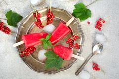 Homemade ice fruits cream of red currant lemonade. Frozen drinks. Top view. Homemade ice fruits cream. Popsicles of red currant lemonade. Frozen drinks. Top Stock Image