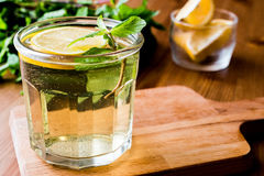 Homemade ice tea with lemon and mint leaves. Royalty Free Stock Photos