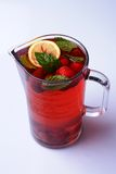 Homemade ice-tea. With strawberries, lemon and mint Royalty Free Stock Photography