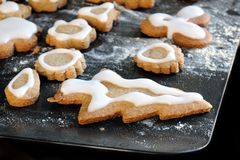 Homemade iced gingerbread biscuits / cookies Royalty Free Stock Photography