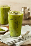 Homemade Iced Matcha Latte Tea. With Milk royalty free stock photo