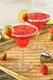 Homemade Iced Starwberry Margarita stock photo