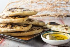 Homemade Indian fried Naan bread Royalty Free Stock Photography