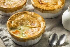 Homemade Individual Chicken Pots Pies. Ready to Eat royalty free stock image