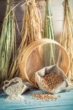 Homemade ingredients for bread and rolls with several grains Royalty Free Stock Photos