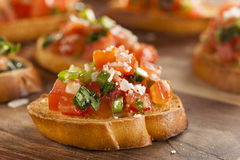 Homemade Italian Bruschetta Appetizer. With Basil and Tomatoes Stock Images