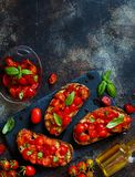 Homemade Italian Bruschetta royalty free stock photos