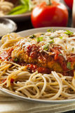 Homemade Italian Chicken Parmesan. With Cheese and Sauce Royalty Free Stock Images