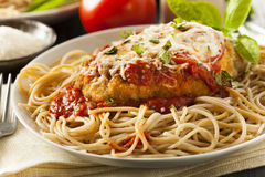 Homemade Italian Chicken Parmesan. With Cheese and Sauce Royalty Free Stock Image
