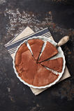 Homemade italian chocolate cake with ricotta cheese and dark chocolate. Top view stock photo