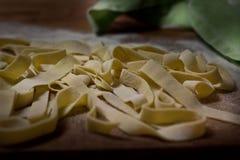 Homemade italian fettuccine stock photos