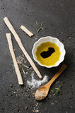 Homemade italian grissini with salt Royalty Free Stock Images