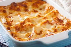 Homemade italian lasagna in baking dish Royalty Free Stock Photo