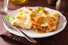 Homemade italian lasagna on plate Royalty Free Stock Photos