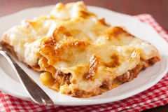 Homemade italian lasagna on plate Royalty Free Stock Images