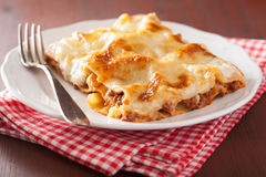Homemade italian lasagna on plate Royalty Free Stock Photography