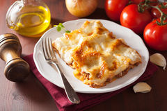 Homemade italian lasagna on plate Stock Images