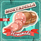 Homemade italian mortadella vintage vector poster. Old paper textured background. Stock Photos