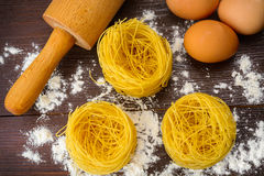 Homemade Italian pasta, eggs and flour Stock Photo
