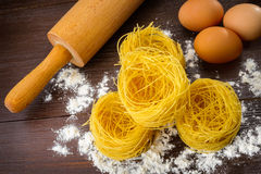 Homemade Italian pasta, eggs and flour Royalty Free Stock Images