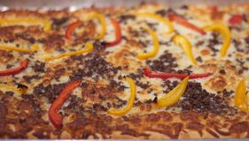 Homemade Italian pizza with peppers!. A delicious homemade italian pizza with beef, cheese and peppers royalty free stock photography
