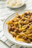 Homemade Italian Ragu Sauce and Pasta. With Cheese Stock Photography
