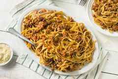 Homemade Italian Ragu Sauce and Pasta. With Cheese Stock Images