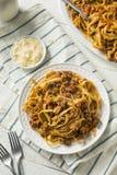 Homemade Italian Ragu Sauce and Pasta. With Cheese Stock Photos