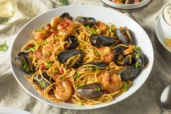 Homemade Italian Seafood Pasta royalty free stock images