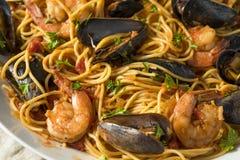 Homemade Italian Seafood Pasta stock photo
