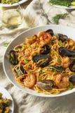 Homemade Italian Seafood Pasta stock photography