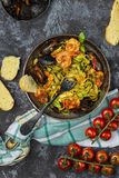 Homemade Italian Seafood Pasta with Mussels and Shrimp stock photo