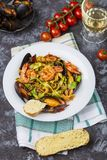 Homemade Italian Seafood Pasta with Mussels and Shrimp royalty free stock images