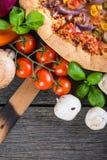 Homemade italian vegetarian pizza Stock Image