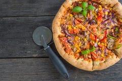 Homemade italian vegetarian pizza Royalty Free Stock Photography