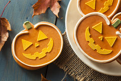 Homemade Jack O'lantern Pumpkin Cookie royalty free stock images