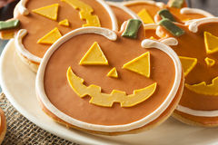 Homemade Jack O'lantern Pumpkin Cookie Stock Photography
