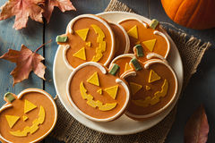 Homemade Jack O'lantern Pumpkin Cookie Stock Photo