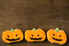 Homemade Jack O'lantern Pumpkin Cookies Royalty Free Stock Images