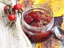 Homemade jam in a glass jar Royalty Free Stock Image