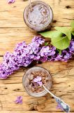 Homemade jam from the lilac. Healing jam from the flowers of spring lilacs.Healing syrup.Herbalism Royalty Free Stock Photography