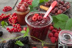 Homemade jams from fresh berries royalty free stock image