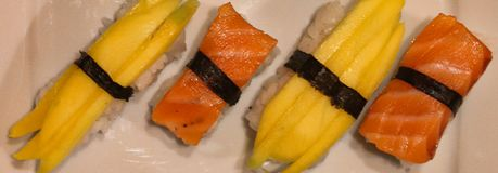 Homemade japan sushi party stock images