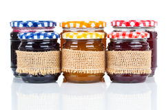 Homemade jars with jam Stock Photos