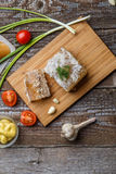 Homemade jelly meat with mustard, bread, tomatoes and garlic on the table. Holodets Stock Image